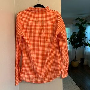 J. Crew Tops - J. Crew The Perfect Shirt Orange Gingham Plaid